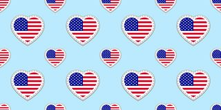 USA flag seamless pattern. Vector The United States of America flags stikers. Love hearts symbols. Background for american english stock illustration