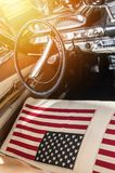 USA flag on seat of a car Stock Photography