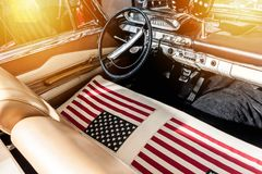 USA flag on seat of a car Stock Photo