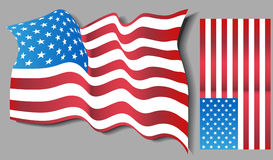 USA Flag Set. A pair of 3D USA flags Royalty Free Stock Photography