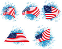 USA flag set with fireworks Royalty Free Stock Images
