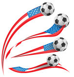 USA flag set whit soccer ball. Isolated stock illustration