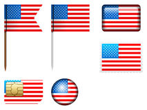 USA flag set Royalty Free Stock Photo