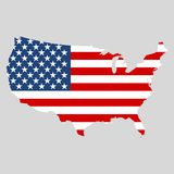 USA flag, Shape of american map icon Stock Photos