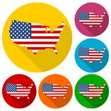 USA flag, Shape of american map icons set with long shadow Stock Photo
