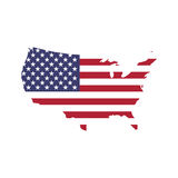 USA flag in a shape of US map silhouette. United States of America symbol. EPS10 vector illustration.  Stock Image