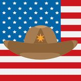 USA flag and sheriff`s cowboy hat with a star stock illustration