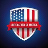 USA flag shield with ribbon.  Stock Photo