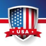USA flag shield and ribbon vector Royalty Free Stock Photos