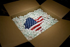 USA flag in shipping carton Royalty Free Stock Photography