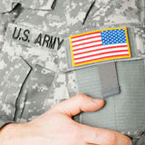 USA flag shoulder patch on military uniform Royalty Free Stock Images