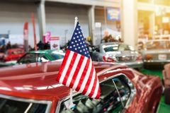 USA flag in a showroom Stock Photography