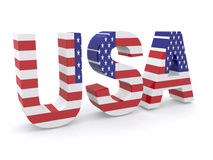 USA flag sign. 3d illustration of word USA in colors of American flag, white background Royalty Free Stock Photos