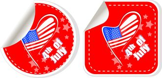 USA flag sign label stickers set Stock Photos