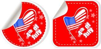 USA flag sign label stickers set Stock Photos