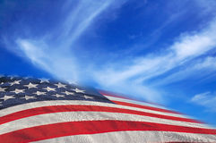 USA flag in the sky. USA flag in the blue sky Royalty Free Stock Images