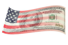 USA flag soft on hunderd dollars bill. Royalty Free Stock Image