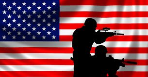 USA Flag with soldier Royalty Free Stock Images