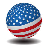 USA Flag Sphere. The stylized image of the flag of the United States of America on the round sphere Royalty Free Stock Photo