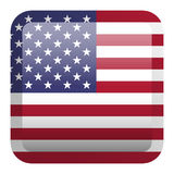 USA Flag. Square Glossy Button Stock Images