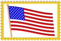 USA flag on stamp Royalty Free Stock Images