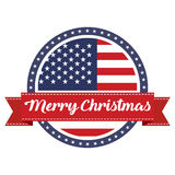 USA flag stamp with ribbon Merry Christmas. Vector illustration Royalty Free Stock Image