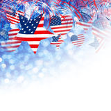 USA flag in star and heart shape with firework background design. For 4 july independence day and other celebration Stock Image