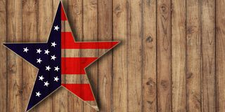 Usa flag in star shape on wood, background with copy space. Midterm election or veterans day background royalty free stock photo