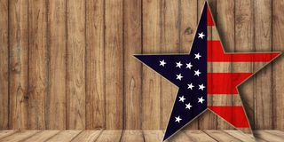 Usa flag in star shape on wood, background with copy space. Midterm election or veterans day background stock photos