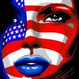 Usa Flag Stars and Stripes Beautiful Girl Portrait. Stars and Stripes Usa Flag Painted on Beautiful Girl`s portrait representing America Patriotism. Original stock illustration