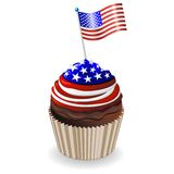 USA Flag Stars and Stripes Cupcake. Delicious cupcake with stars and stripes USA Flag Colors Royalty Free Stock Images