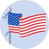 USA Flag Stars and Stripes on Flagpole Circle Cartoon Stock Photography