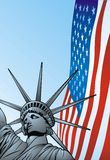 USA flag and statue of liberty Royalty Free Stock Image