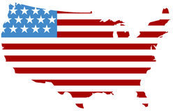 USA with Flag Striping Royalty Free Stock Photography