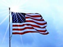 USA flag and sun Stock Photography