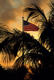 USA Flag At Sunset Stock Photo