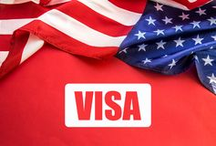 USA flag on table. American visa concept. Top view, flatlay royalty free stock photography