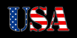 USA flag text. The letters USA with a flag pattern inside Stock Photo
