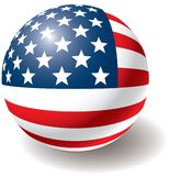 USA flag texture on ball. Royalty Free Stock Photography