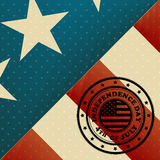 USA Flag and 4th July stamp Stock Photography