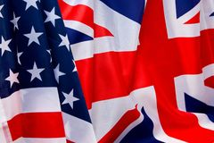 USA flag and UK Flag background. Relations between States Stock Photo