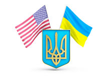 Usa flag and of ukraine on the background of the coat of arms Stock Photo