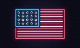 USA flag. United States of America flag neon sign. USA logo, emblem. Fourth of July neon poster. Light banner. Vector illustration stock illustration