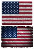Usa flag. USA, American flag painted on wooden tag Royalty Free Stock Image