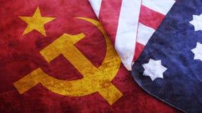 Usa Flag on USSR Flag. Cold War stock photo
