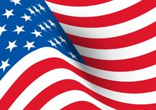 USA flag. Vector realistic wavy flag of United States of America.  Royalty Free Stock Images
