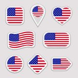 The USA flag vector set. American national flags stickers collection. Vector isolated geometric icons. Web, sports pages, patrioti stock illustration