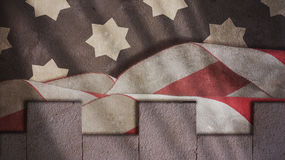 Usa Flag Waves and Merlons Royalty Free Stock Images