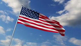 USA flag. Waving against time-lapse clouds background stock video footage