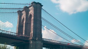 Usa flag waving on the brooklyn bridge 4k time lapse new york city stock footage